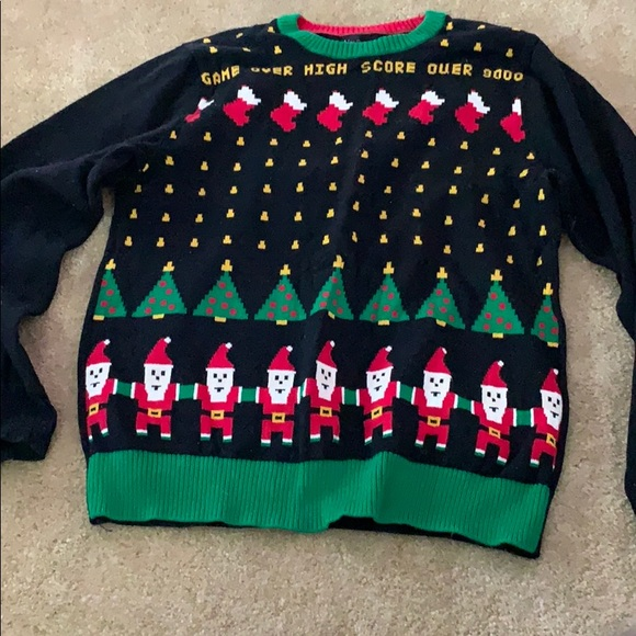 Nerdy Christmas Sweater.Space Invaders Ugly Christmas Sweater